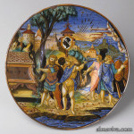Maiolica ceramics tin-glazed platter