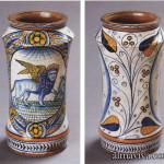 pot d'apothicaire ode forme albarello en majolique maiolica italiana