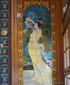 Art nouveau ceramic tiles murals and tile panels for Art nouveau tile mural