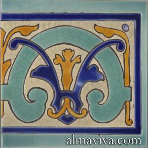 Art Nouveau cuerda seca tile