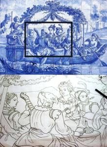 azulejo panel stencil handmade