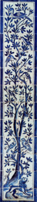 Portuguese azulejo blue and white ceramic tile mural