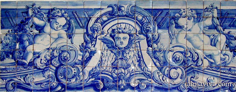 blue Portuguese azulejo panel with angels