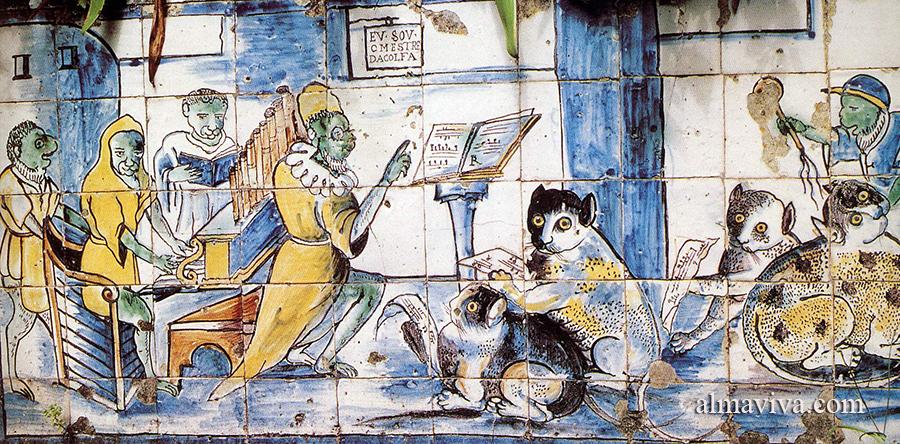 fabrication d'un panneau d'azulejos du palais de la Fronteira avec des singes et des chats
