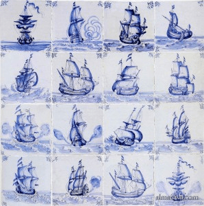 delft ship boat blue and white ceramic tile