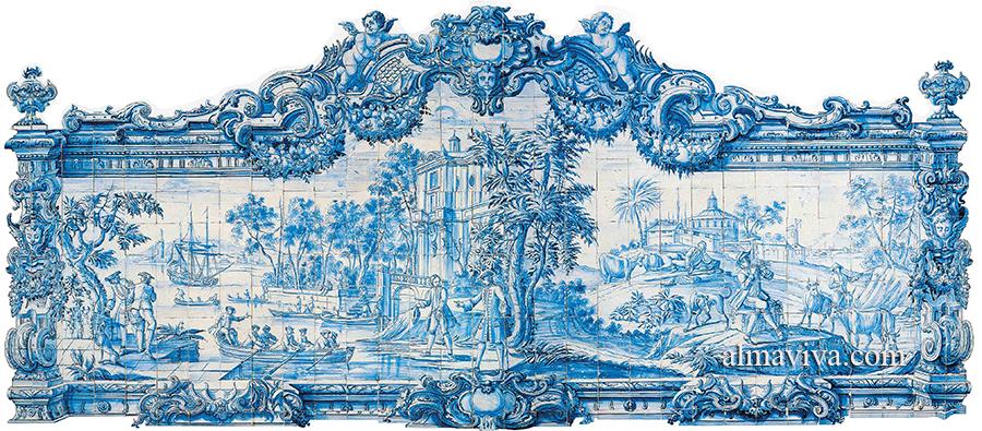 azulejos du portugal peint en blanc et bleu avec un paysage et le cadre découpé