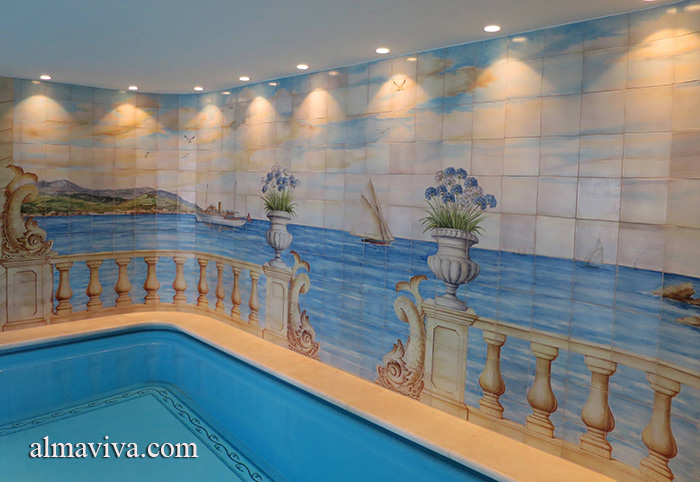 Ref. CD50 - Landscape painted on the walls of an indoor pool
