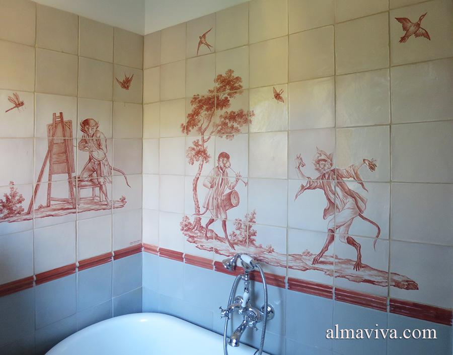 Réf. A08 - Décor de salle de bains inspiré des singeries peintes par Christophe Huet