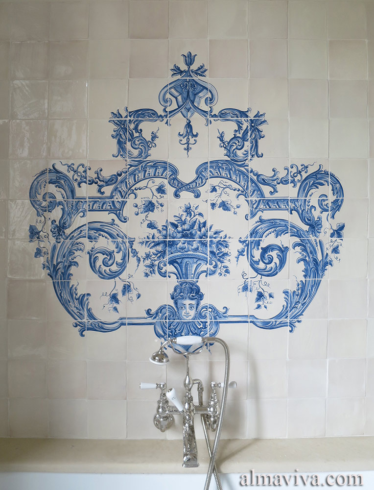 Ref. A21 - Our workshop created this bathroom decor in the azulejos style